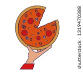 hand grabbing pizza blue lines | Shutterstock .eps vector #1319470388
