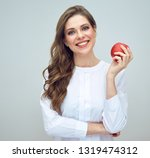 woman with toothy smile wearing ... | Shutterstock . vector #1319474312