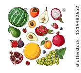 fruits. fresh food. watermelon  ... | Shutterstock .eps vector #1319482652