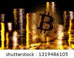 bitcoin money in a double... | Shutterstock . vector #1319486105