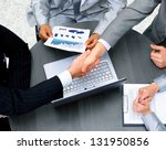 business people shaking hands ... | Shutterstock . vector #131950856