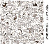 kitchen tools   doodles | Shutterstock .eps vector #131952002