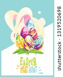 happy easter.egg hunt.greeting... | Shutterstock .eps vector #1319520698