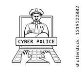 cyber police officer appears on ... | Shutterstock . vector #1319522882