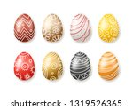 set of colored easter eggs... | Shutterstock .eps vector #1319526365