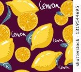 fresh lemons for fabric ... | Shutterstock .eps vector #1319544695