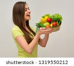 woman with toothy smile holding ... | Shutterstock . vector #1319550212
