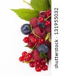 handful of berries on a white... | Shutterstock . vector #131955032
