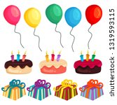 birthday party balloon cake... | Shutterstock .eps vector #1319593115