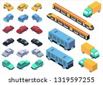 isometric car  bus  truck and... | Shutterstock . vector #1319597255