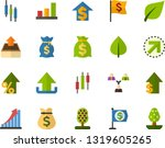 color flat icon set   green... | Shutterstock .eps vector #1319605265