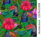 tropical birds seamless pattern.... | Shutterstock . vector #1319613308