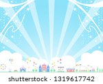 theme park and flying ribbons | Shutterstock .eps vector #1319617742