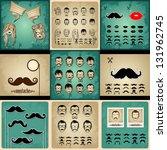 set vintage cards girls and... | Shutterstock .eps vector #131962745