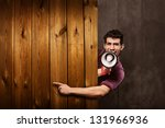 advertising concept of young...   Shutterstock . vector #131966936