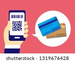 cashless with smartphone | Shutterstock .eps vector #1319676428