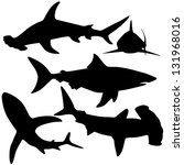 collection of sharks isolated... | Shutterstock .eps vector #131968016