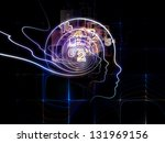 Backdrop composed of lines of human head, fractal grids and technology related symbols and suitable for use in the projects on artificial intelligence, science, education and technology - stock photo