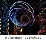 Design made of lines of human head, fractal grids and technology related symbols to serve as backdrop for projects related to artificial intelligence, science, education and technology - stock photo