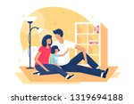 flat happy family with father ... | Shutterstock .eps vector #1319694188