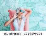fashion cool girl with white... | Shutterstock . vector #1319699105