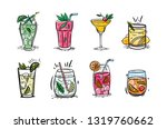 Vector Set Of Cocktails. Hand...