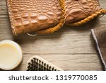 vintage genuine leather wallet... | Shutterstock . vector #1319770085