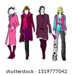 stylish fashion models. pretty... | Shutterstock .eps vector #1319777042