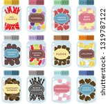 Set Of 12 Sweets Jars With Cut...
