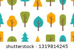 seamless pattern with trees.... | Shutterstock . vector #1319814245