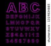 blurred neon font. purple... | Shutterstock . vector #1319834885