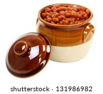 Baked Beans In Pot Isolated On...