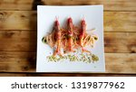 spaghetti with prawn cherry... | Shutterstock . vector #1319877962