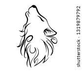 wolf head howl design tribal... | Shutterstock .eps vector #1319879792