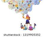 the teacher gives children...   Shutterstock .eps vector #1319905352