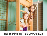 kids playing on a rope ladder... | Shutterstock . vector #1319906525