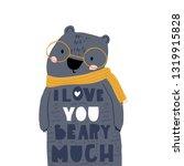 cute cartoon bear in scarf and... | Shutterstock .eps vector #1319915828