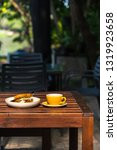 sandwich serve with hot coffee... | Shutterstock . vector #1319923658