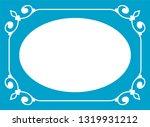 vector blue oval border frame.... | Shutterstock .eps vector #1319931212