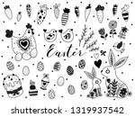 cute easter linear set. rabbits ... | Shutterstock .eps vector #1319937542
