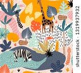 seamless pattern with giraffe ... | Shutterstock .eps vector #1319937932