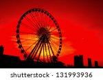 ferris wheel sunset.   Shutterstock . vector #131993936