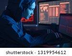 girl hacker in a hood typing... | Shutterstock . vector #1319954612