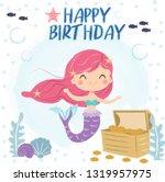 cute mermaid drawing cartoon... | Shutterstock .eps vector #1319957975