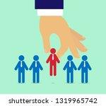 a man's hand raises a man from...   Shutterstock .eps vector #1319965742