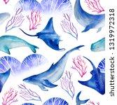 watercolor seamless pattern... | Shutterstock . vector #1319972318