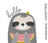 cute cartoon sloth. sloth...   Shutterstock .eps vector #1319977595