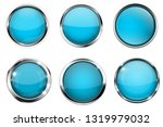 blue buttons with chrome frame. ... | Shutterstock . vector #1319979032