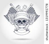 hand drawn sketch  racer skull... | Shutterstock .eps vector #1319992778