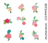 set of flowers with leaves.... | Shutterstock .eps vector #1319995208